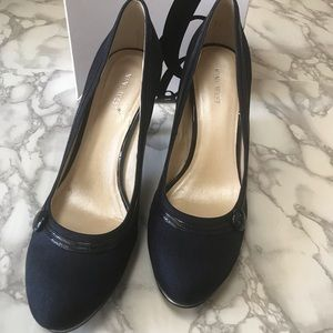 Nine West Amell Navy Denim Heels